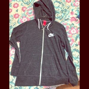 XL Nike lightweight charcoal full zip hoodie